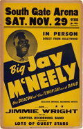 Music Memorabilia:Posters, Big Jay McNeely/Jimmy Wright South Gate Arena Concert Poster(1952). Extremely Rare....