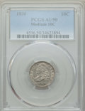 "Bust Dimes: , 1830 10C Medium 10C AU50 PCGS. EX: ""E.B. Strickland Collection"".PCGS Population: (15/157). NGC Census: (6/145). AU50. Mint..."