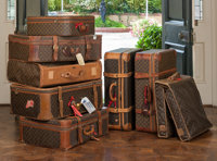 An Eight-Piece Louis Vuitton Classic Monogram Canvas and Vachetta Leather Soft Side Luggage Group  The lot comp