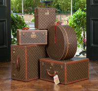 A Five-Piece Louis Vuitton Classic Monogram Canvas Hard Travel Case Luggage Group  The lot comprising: Two L