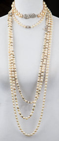 Jewelry:Miscellaneous, A Zsa Zsa Gabor Collection of Faux Pearl, Pearl, and 14K White Gold Jewelry in a Hermès Travel Case, Circa 1950s-1980s.. Ele...