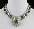 American:Academic, A Zsa Zsa Gabor Stunning Designer Necklace, Circa 1960s.. Arhinestone and faux emerald necklace, in a silver-tone setting, ...(Total: 2 Items)