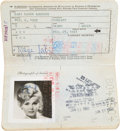 Other, Zsa Zsa Gabor's American Passport, circa 1961. 6 inches high x 3-3/4 inches wide (15.2 x 9.5 cm) (closed). ...