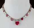 American:Academic, A Zsa Zsa Gabor Fancy Choker Necklace, Circa 1980s.. Rhinestonesand faux rubies in the shape of hearts, in a gold-tone sett...
