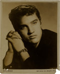 Music Memorabilia:Autographs and Signed Items, Elvis Presley Signed Sun Records Promotional Photo Also Signed byScotty Moore and Bill Black (1950s)....