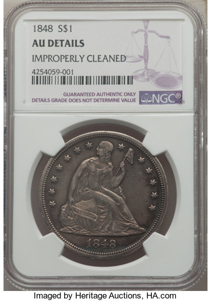Seated Dollars 1848 1 Improperly Cleaned NGC Details AU