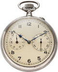 Timepieces:Pocket (post 1900), A. Lange & Söhne Caliber 48 Fine Silver Deck Watch With Wind Indicator. ...