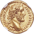 Ancients:Roman Imperial, Ancients: Antoninus Pius (AD 138-161). AV aureus (18mm, 7.39 gm,5h). NGC Choice MS 5/5 - 5/5....