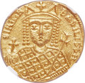 Ancients:Byzantine, Ancients: Irene, as sole ruler (AD 797-802). AV solidus (20mm, 4.41 gm, 5h). NGC Choice MS 5/5 - 4/5....