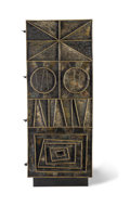 Furniture : American, Paul Evans (American, 1931-1987). Unique Cabinet, 1967.Welded, gilt and enameled steel with wood . 78 x 30-3/4 x 18-1/2...