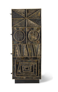 Paul Evans (American, 1931-1987) Unique Cabinet, 1967 Welded, gilt and enameled steel with wood