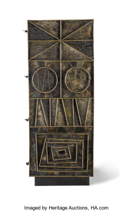 Paul Evans (American, 1931-1987) Unique Cabinet, 1967 Welded, gilt and enameled steel with wood  78 x 30-3/4 x 18-1/2...