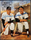Autographs:Others, 1991 Joe DiMaggio/Mickey Mantle Signed Beckett Baseball CardMonthly.. ...
