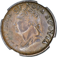 Canada: Nova Scotia. Provincial Contemporary Counterfeit Thistle 1/2 Penny Token 1382 XF Details (Scratches) N...