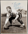 "Autographs:Photos, Clyde ""Bulldog"" Turner Signed, Oversized Type I Photo - Featured on1951 Bowman Football Card.. ..."