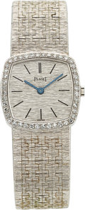 Timepieces:Wristwatch, Piaget Lady's Diamond, White Gold Watch, circa 1970. ...