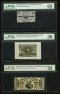 Fractional Currency:Second Issue, Fr. 1226SP 3¢ Third Issue Narrow Margin Face PMG Choice Uncirculated 63;. Fr. 1232SP 5¢ Second Issue Wide Margin Face PMG ... (Total: 3 notes)