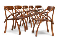 Arthur Espenet Carpenter (American, 1920-2006) Rare Set of Six Wishbone Armchairs, 1980 Walnut and b