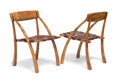 Furniture : American, Arthur Espenet Carpenter (1920-2006). Pair of WishboneChairs, 1985. Walnut and brown leather with brass grommets. 31x ... (Total: 2 Items)
