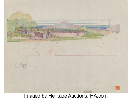 Frank Lloyd Wright (American, 1867-1959) Drawings of the Dr. & Mrs. Paul V. Palmer House, Phoenix, Arizona (twenty-four... (Total: 24 Items)