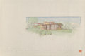 Works on Paper, Frank Lloyd Wright (American, 1867-1959). Drawings of the Mr. & Mrs. Louis Penfield House (three works), 1952. Ink, ... (Total: 3 Items)