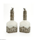 Silver Holloware, Continental:Holloware, A Pair Of German Crystal and Silver Decanters Mark Of Augsburg,Germany, c.1763 The cut crystal decanters decorated with... (4Items)