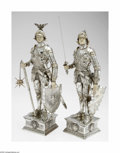 Silver Holloware, Continental:Holloware, A Pair of German Silver Knights I. F. & Son, Ltd., Germany,Nineteenth century The pair of armored knights, both on deco... (2Items)