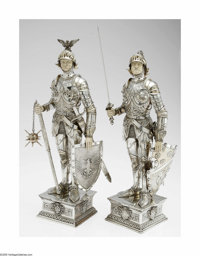 A Pair of German Silver Knights I. F. & Son, Ltd., Germany, Nineteenth century  The pair of armored knights, both on...
