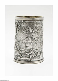 A Japanese Silver Cup Maker unknown, c.1868  The heavily decorated cylindrical form cup depicting a battle scene, a shie...