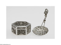 A Japanese Silver Serving Spoon and Chinese Export Box Maker unknown, c.1880  The pierced functional end in the form of...