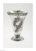 Silver Holloware, Mexican:Holloware, A Mexican Silver Vase Mark of Biros, Mexico, Twentieth Century The domed and ribbed foot supports a trumpet form vase si...