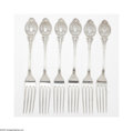 Silver Flatware, American:Wood & Hughes, Six American Silver 'Medallion' Forks Mark of Wood & Hughes,New York, NY, c.1870 The dinner forks decorated in the meda... (6Items)