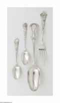 Silver Flatware, American:Coin Silver, A Group of American Coin Silver Forks and Spoons Various makers,Early Nineteenth Century The group comprising twenty-si... (61Items)