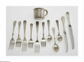 Silver Flatware, American:Kirk, Three American Silver Place Settings and a Baby Cup Marks of S.Kirk & Son, Baltimore, MD; and Webster Company, North Attle...(11 Items)