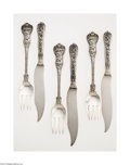 Silver & Vertu:Flatware, An American Silver Olympian Pattern Fish Set. Mark of Tiffany & Co., New York, NY, c.1878. The set comprising twelve fish ... (Total: 24 Items Item)