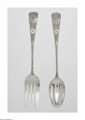 Silver & Vertu:Flatware, An American Silver Large Serving Fork And Spoon. Maker unknown, c.1880. The matching pair of serving spoon and fork both w... (Total: 2 Item)