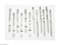 Twelve American Silver Japanese-Style Dessert Knives And Forks Mark of Tiffany & Co., New York, NY, c.1907  The set...