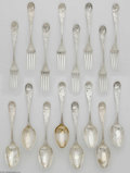 Silver Flatware, American:Tiffany, Sixteen Piece American Silver Forks & Spoons Mark of Tiffany& Co., New York, NY, c.1871 The set of eight spoons and eig...(16 Items)
