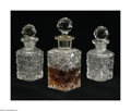Art Glass:Other , A Trio Of Matching Glass Perfume Bottles Maker unknown The trio ofAmerican brilliant cut glass, each of identical recta... (6 Items)