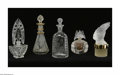 Art Glass:Other , A Grouping Of Perfume Bottles Lalique, France A frosted art glassfeathered prince, frosted art glass double butterfly, ... (5 Items)