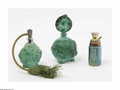 Art Glass:Other , A Grouping Of Carved And Art Glass Perfume Bottles Makers unknownThe first, a globular bottle of malachite of heavily c... (4 Items)