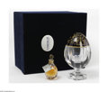 Glass, A Karsavine Blue Crystal Perfume Egg And Flacon. Faberge Co., France. The limited edition, signed and numbered crystal Sai... (Total: 3 Items Item)