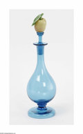 Art Glass:Other , Perfume Bottle Steuben The blue teardrop art glass flask, toppedwith an apple stopper 10.5in. high... (2 Items)