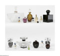 Art Glass:Other , A Grouping Of Perfume Bottles Various houses The assorted groupingincludes a clear glass inverted and ribbed fan-shaped... (17 Items)