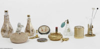 A Grouping Of Perfume Bottles And Vanity Items Various houses and makers  The assortment of items includes two matching...