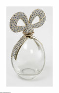 Art Glass:Other , A Decorated Perfume Factice Elizabeth Taylor The 'forme de oeuf'clear glass bottle with gold-tone ribbons to the should...