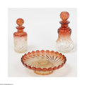 Art Glass:Other , A Trio Of Vintage Vanity Items Baccarat, France A large mouldedglass of sensuous swirl, of cranberry fading to clear at... (3Items)