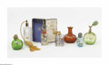 Art Glass:Other , A Set Of Atomizers, Perfume Bottles, And Box The eight piece set ofatomizers includes a translucent green glass globular... (8 Items)