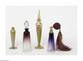 Art Glass:Other , A Grouping Of Art Glass Perfume Bottles Lundburg Studios and othersThe four-piece assortment comprises an atomizer base... (4 Items)