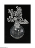 Art Glass:Other , A French Art Glass Perfume Bottle Lalique France The clear glassround body is surmounted by a glass stopper of frosted ... (2Items)